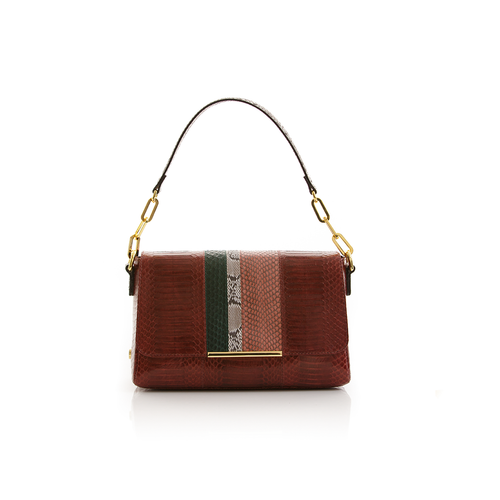 Shoulder bag TULAPA SUI LAH Cassis Cognac and Dark Green Cobra