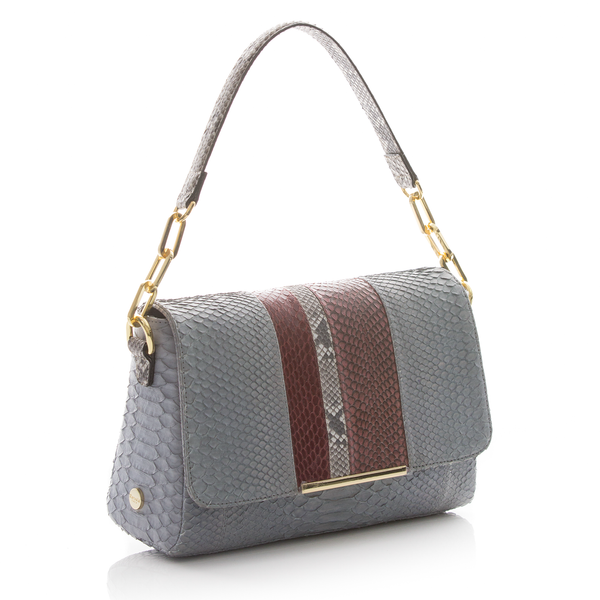 Shoulder bag TULAPA SUI LAH Skin Blue Python, Cassis and Cognac Cobra
