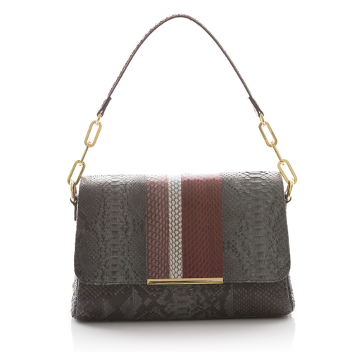Shoulder Bag TULAPA SUI LAH Grey Python, Cassis and Cognac Cobra