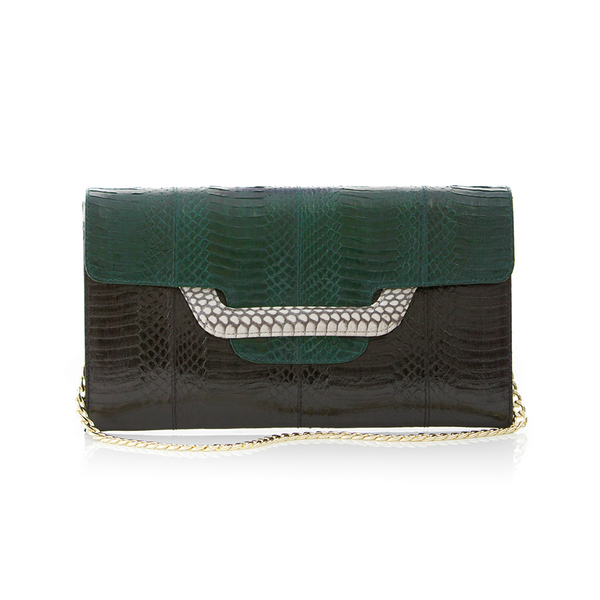 Clutch bag with removable strap ULALAH Dark Green and Black Belly Cobra