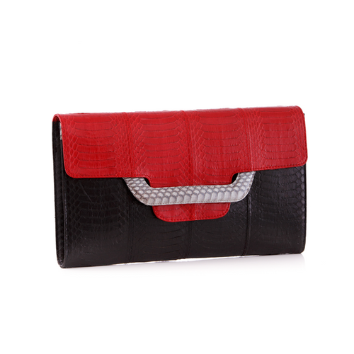 Clutch bag with removable strap ULALAH Red and Black Belly Cobra