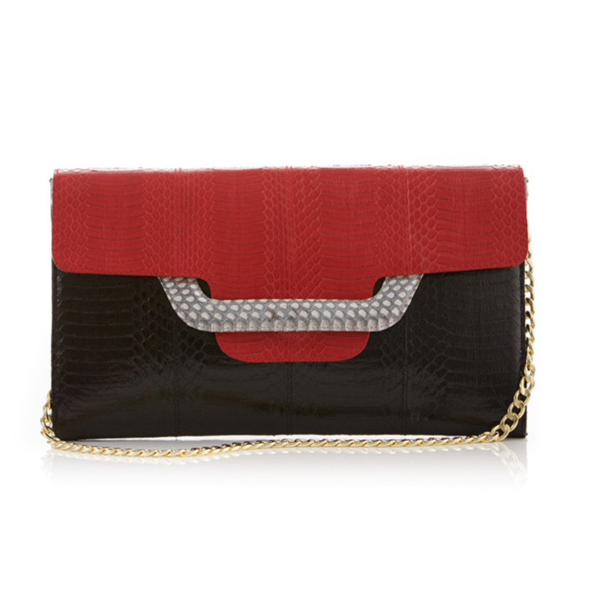 60% cheap premium selection price remains stable Clutch bag with removable strap ULALAH Red and Black Belly Cobra