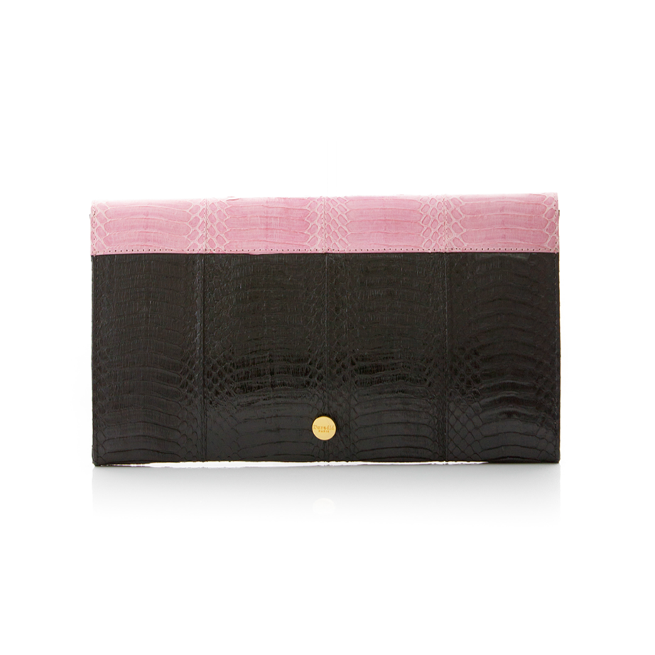 Clutch bag with removable strap ULALAH Pink and Black Belly Cobra