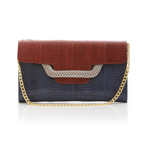 Clutch bag with removable strap ULALAH Cassis and Navy Cobra