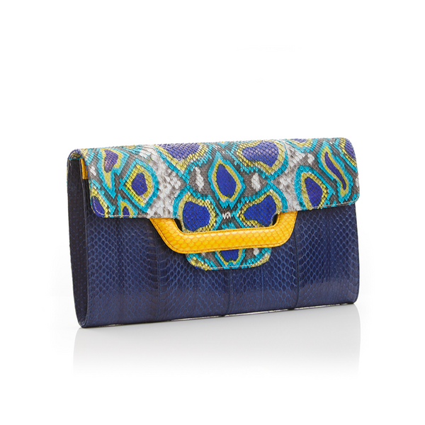 Clutch bag with removable strap ULALAH Blue Painted Python and Navy Cobra