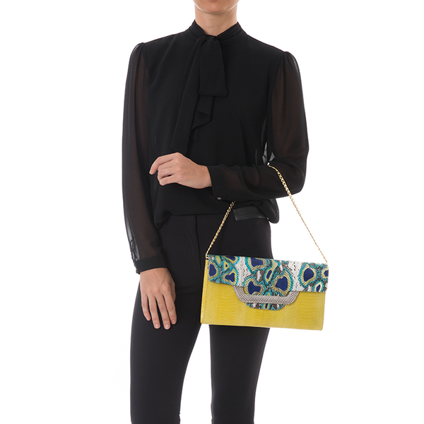 Clutch bag with removable strap ULALAH Blue Painted Python and Yellow Cobra