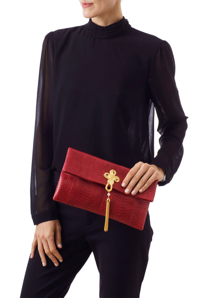 VOOM, clutch bag shimmery red