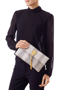 VOOM, clutch bag shimmery white