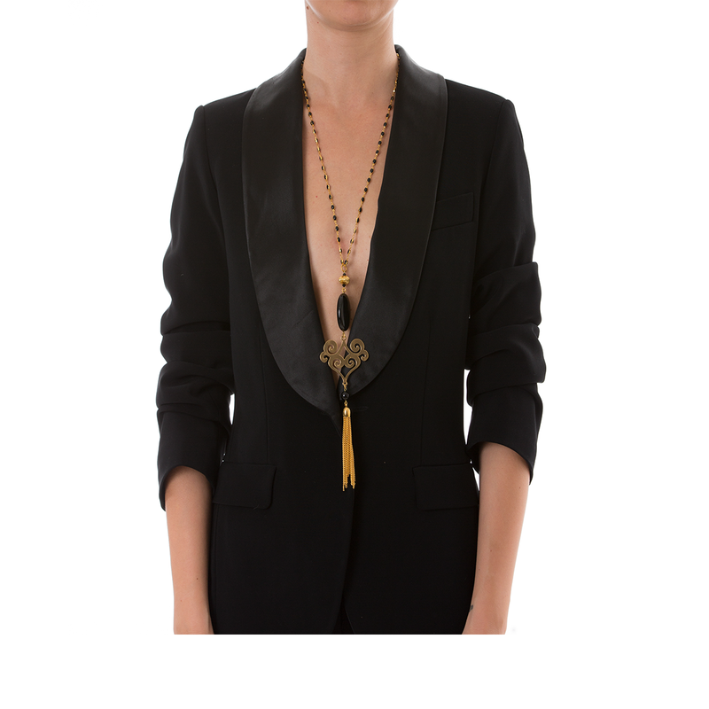 VOLUTE Adjustable Tasseled Gold-Plated Necklace & Black Agate