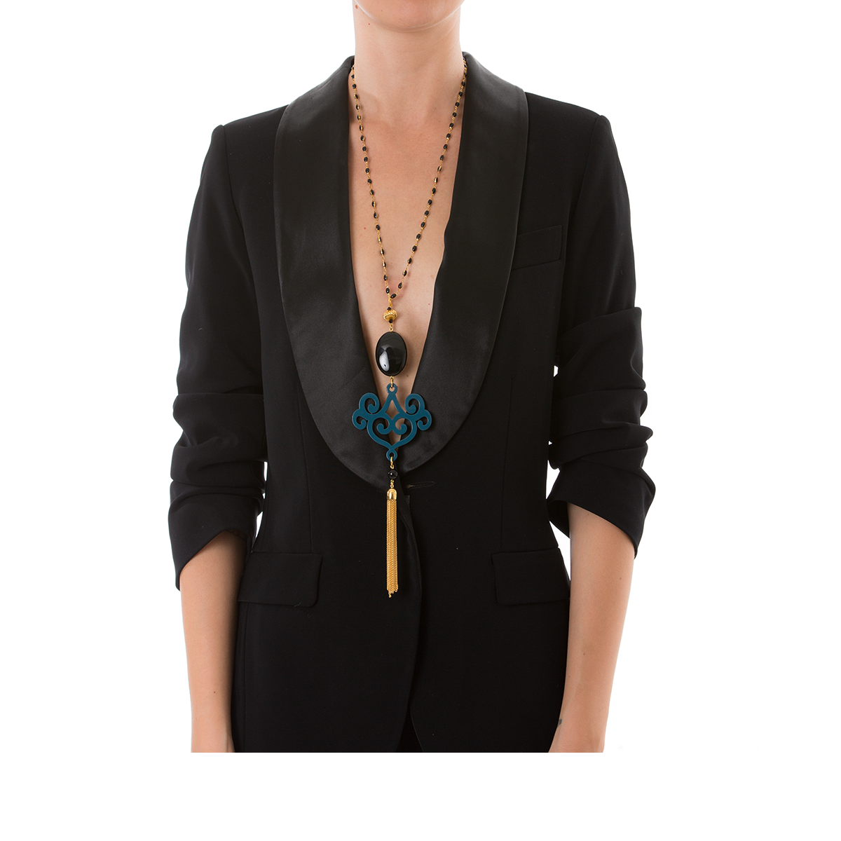 VOLUTE Adjustable Tasseled Gold-Plated Necklace & Blue Lacquered-Horn