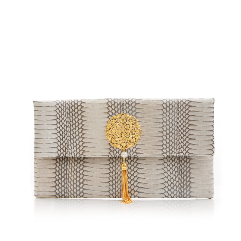 VAVAVOOM clutch bag silver cobra