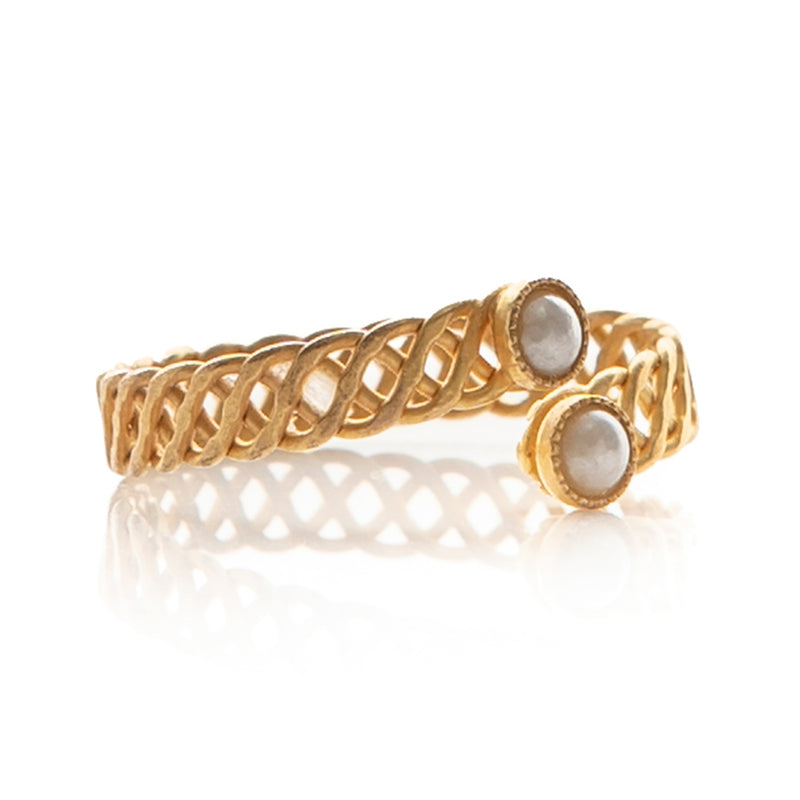 Halley adjustable pearl ring