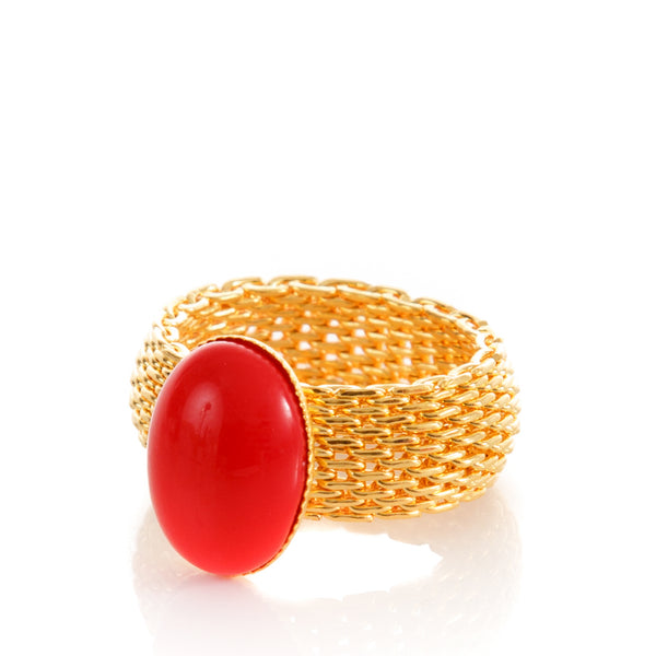 SHANTA Mesh Ring & Red Cabochon