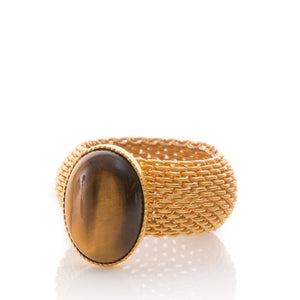 SHANTA Mesh Ring & Tiger Eye Cabochon