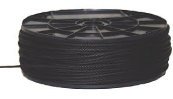 "Black Aircraft Cable (Wire Rope) 1/8"" x 500'"
