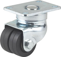 "2 1/2"" DARNELL HARD RUBBER DOUBLE WHEEL RIGID CASTER"