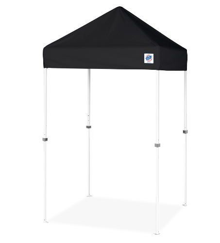 EZUP VUE TENT 5X5 (WHITE STEEL FRAME. BLACK TOP & COVER BAG INCLUDED)
