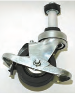 "3"" DARNELL NEOPRENE WHEEL CASTER WITH 1-1/4"" PIPE E-STEM AND BRAKE"