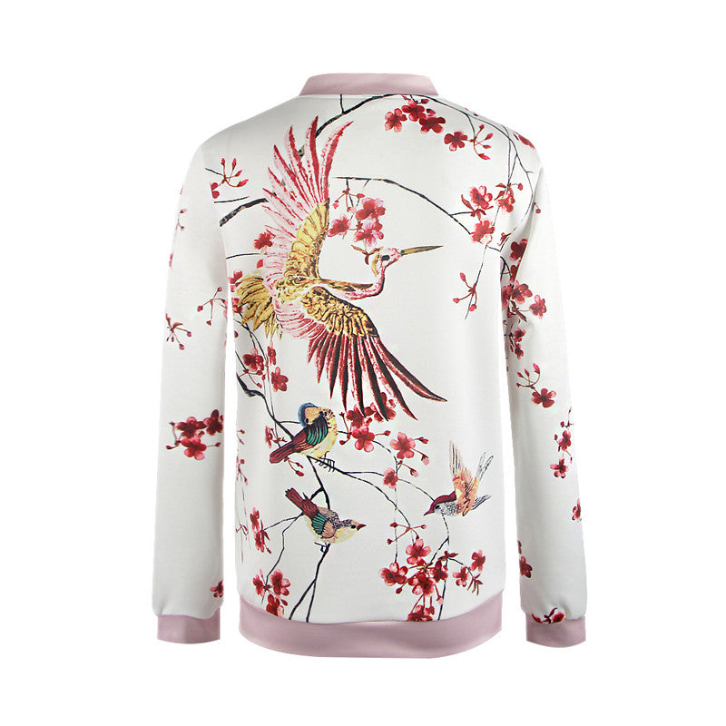 Phoenix Print White Bomber Jacket With Zipper