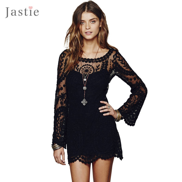 Commemorative Bell Sleeve Casual Lace Embroidery Dress