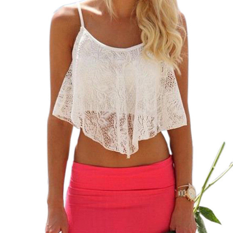 Summer Lace White Crop Top