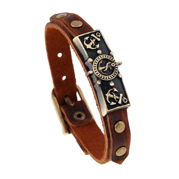 Beautiful Vintage Anchor Cross Belt Bracelet Adjustable Leather