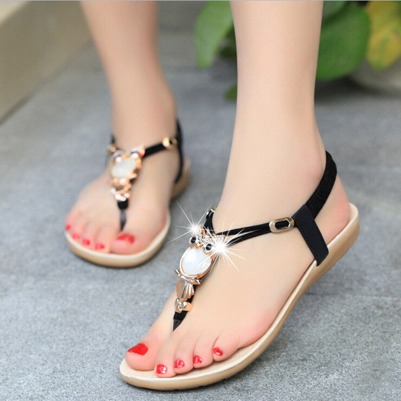 Summer Flat Sandals Woman Shoes Luxury Owl Rhinestone