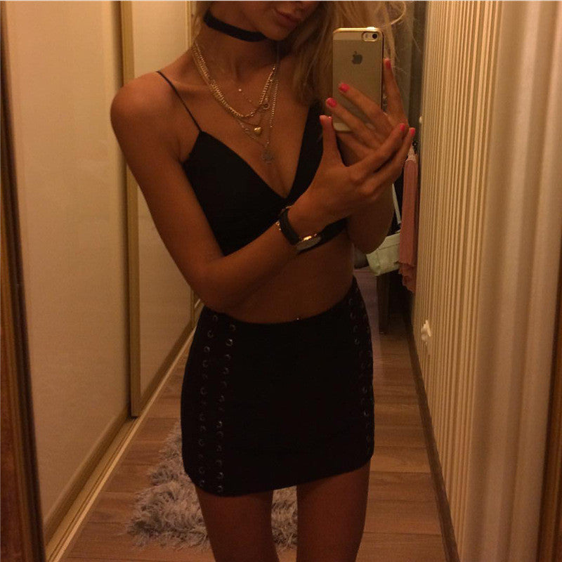 Black V neck Crop Top