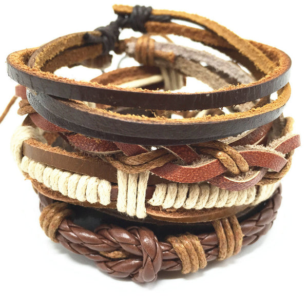 4pcs Bohemian Genuine Leather Bracelets