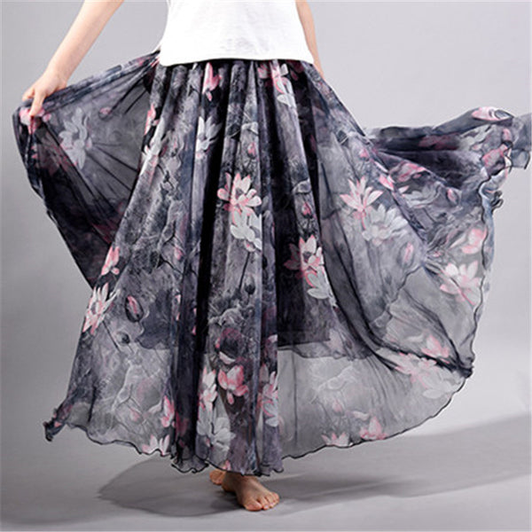 Bohemian Chiffon Floral Printed Floor-Length Flare Skirt