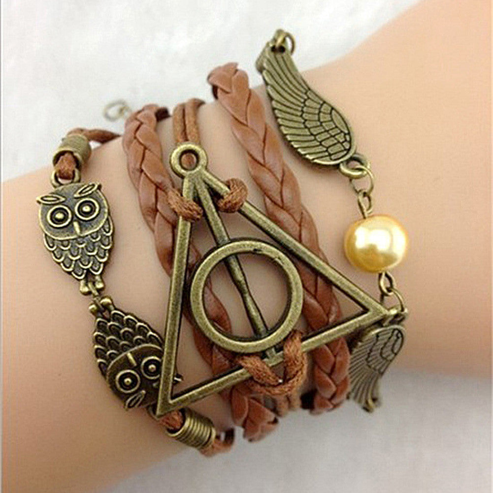 Multilayer Bangle Antique Bronze Magic Hallows Bracelet