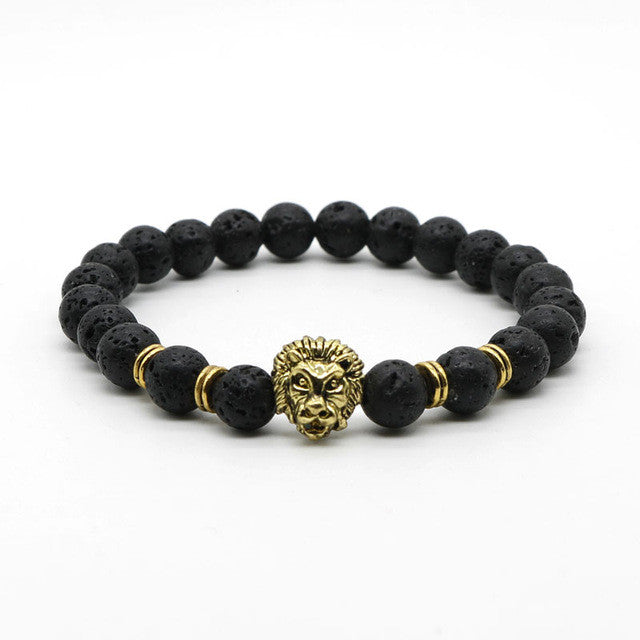 Antique Gold Plated Buddha Leo Lion Head Black Lava Stone Bracelet