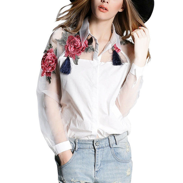 Elegant Women Blouse Flower Embroidery