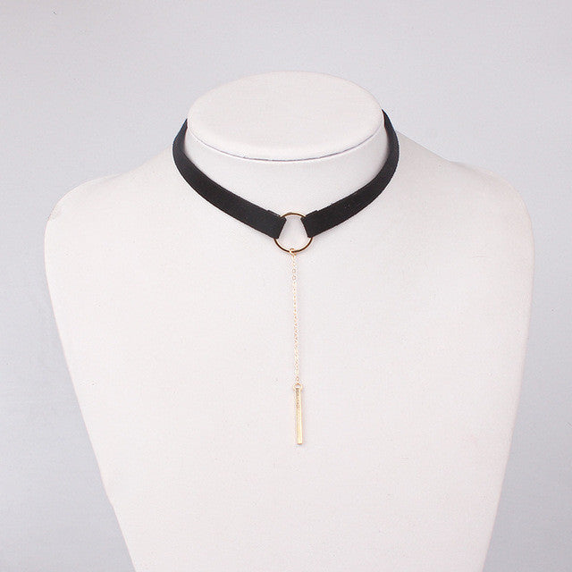 90'S Punk Leather Choker Necklace Gold Plated