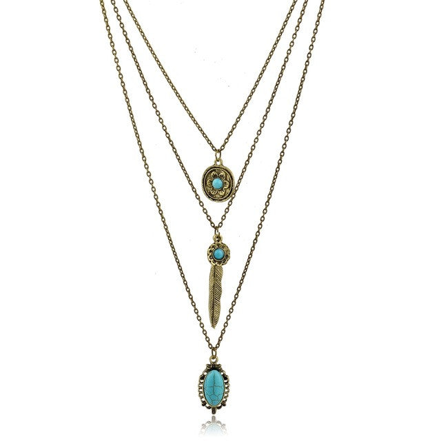 Long Bohemian Turquoise Beads Gold Plated Statement Necklace & Pendant