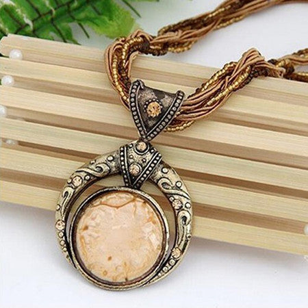 Bohemian Crystal Gem Grain Pendant Necklace