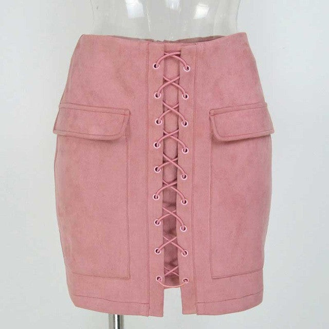 Vintage High Waist External Pocket Tight Suede Lace Up Skirt