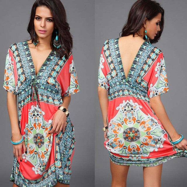 Boho Summer Dress Loose Deep V