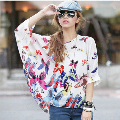 Vintage Summer Blouses Multipul Prints