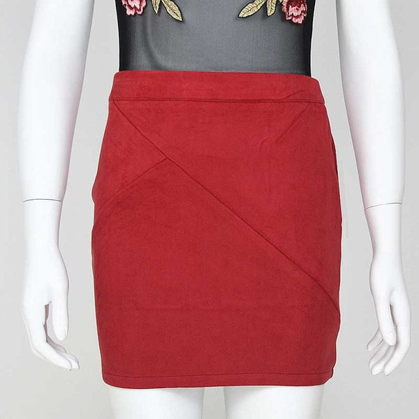 Vintage 80`s Retro High Waist Patchwork Suede Skirt