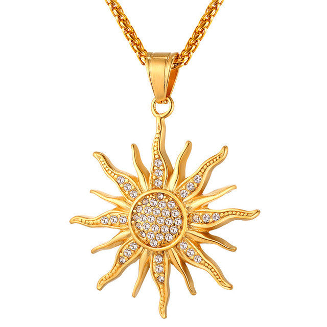 Sunflower Charm Necklaces Gold Plated Stainless Steel Rhinestone Pendant & Chain