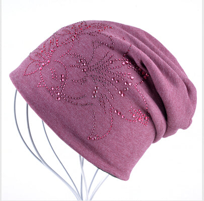 Multiple Flower Rhine Stone Beanies