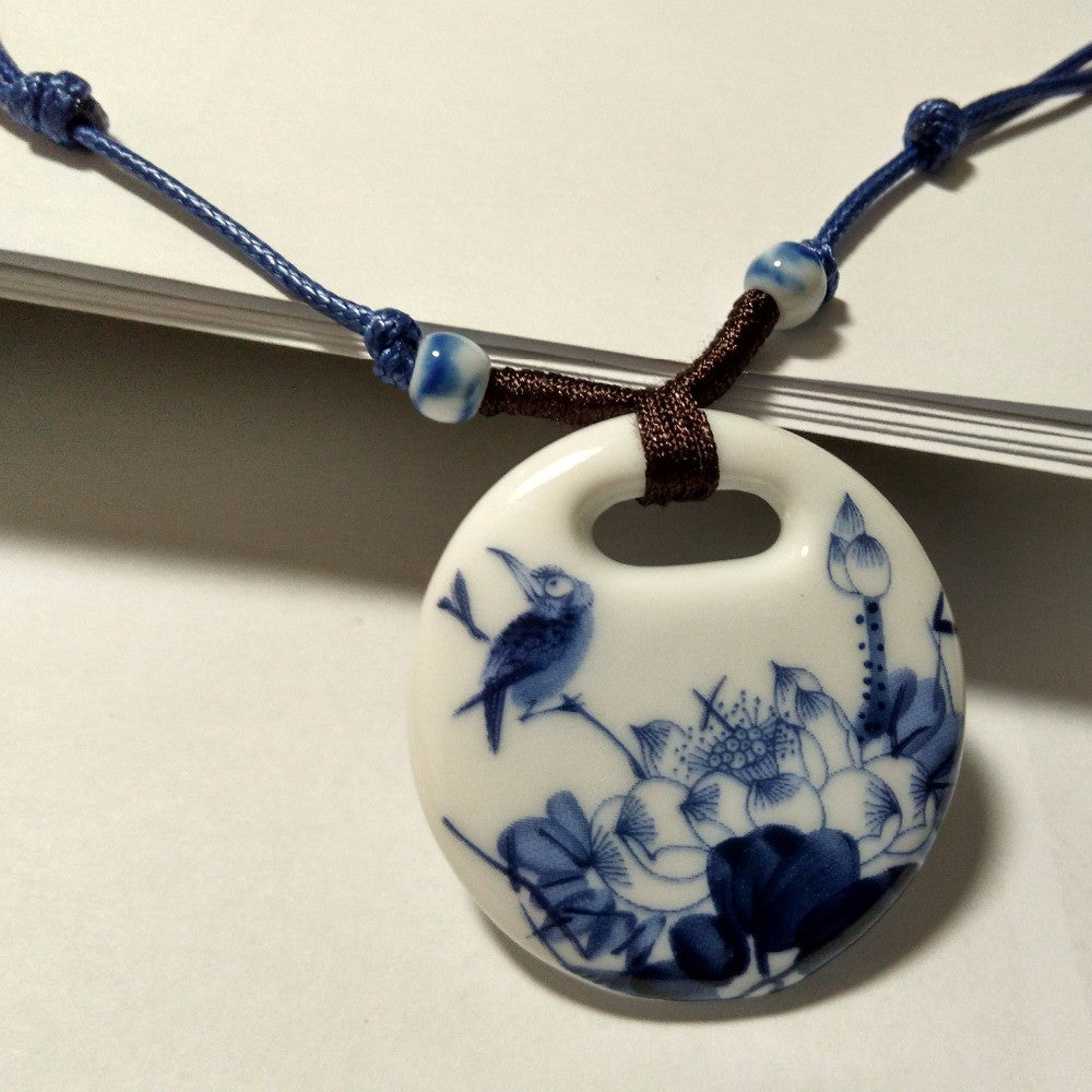 Vintage Ceramic Handmade Pendants Long Necklace