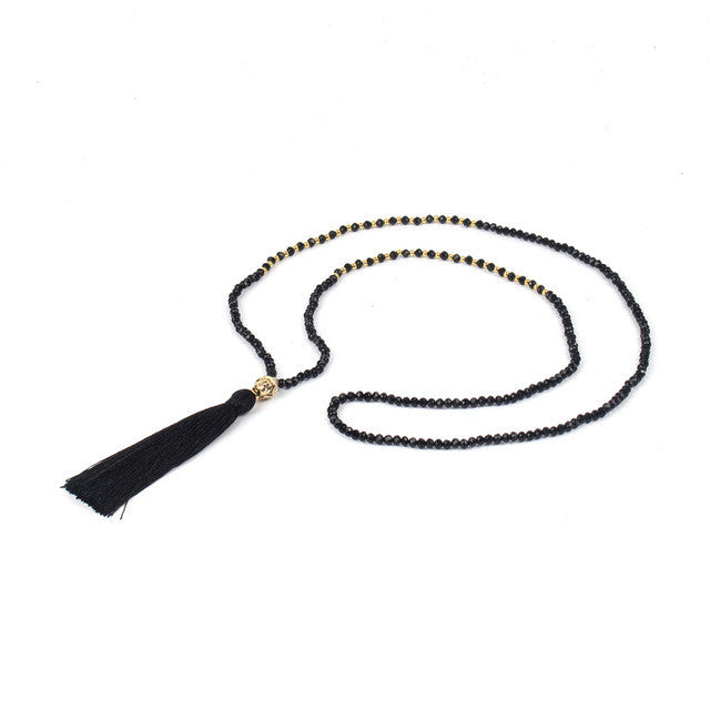 Long Shinus Tassel Statement Necklace