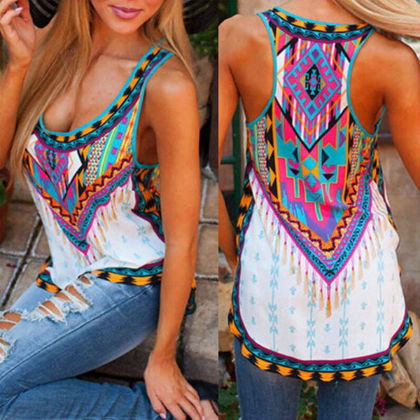 Bohemian Summer Thin Polyester Sleeveless Shirt