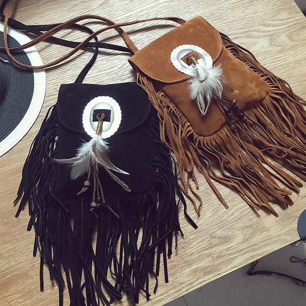 2017 Small Suede Bag Brown Beaded Feathers Pouch Bag
