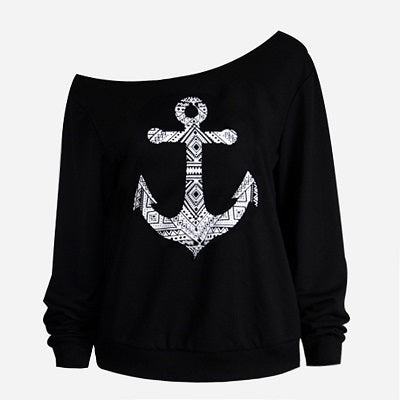 Long Sleeve off Shoulder Kiss/Anchor Sweaters