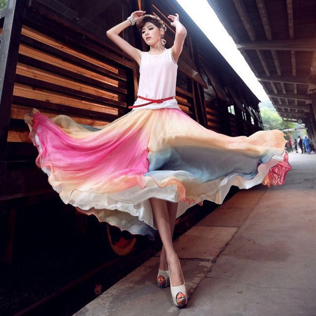 Multicolored Long Chiffon Colorful Full Skirt