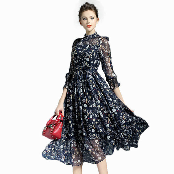 95906a495a2 2017 Vintage Silk Sweet Ball Gown Flower Print Dress