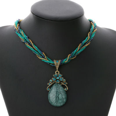 Multilayer Chain Colorful Beads Water Gem Pendant Necklace
